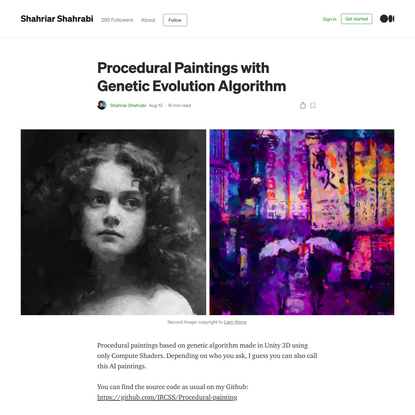 Procedural Paintings with Genetic Evolution Algorithm