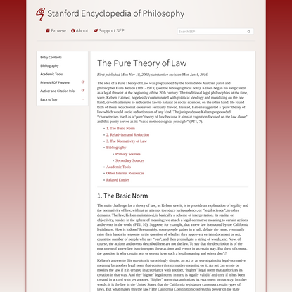 The Pure Theory of Law (Stanford Encyclopedia of Philosophy)