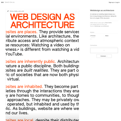 Webdesign as architecture — Are.na
