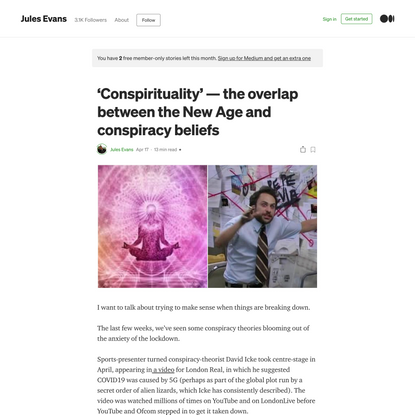 'Conspirituality'—the overlap between the New Age and conspiracy beliefs