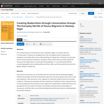 Creating Modernities through Conversation Groups: The Everyday Worlds of Hausa Migrants in Niamey, Niger – Scott M. Youngstedt
