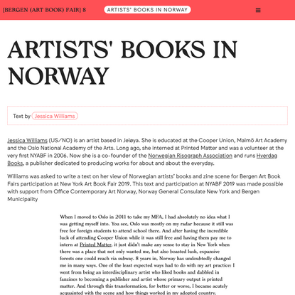 ARTISTS' BOOKS IN NORWAY @ [Bergen (Art Book) Fair] 8