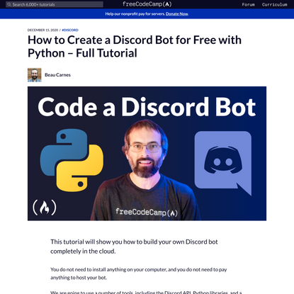 How to Create a Discord Bot for Free with Python – Full Tutorial