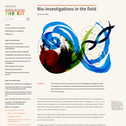 Bio-investigations in the field — The Kit 1.0 documentation