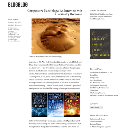 Comparative Planetology: An Interview with Kim Stanley Robinson