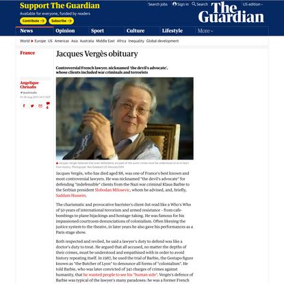 Jacques Vergès obituary