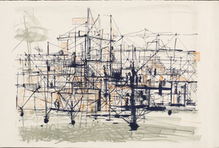 Constant Nieuwenhuys, New Babylon, 1961, litho.