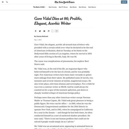 Gore Vidal Dies at 86; Prolific, Elegant, Acerbic Writer (Published 2012)