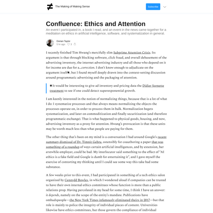Confluence: Ethics and Attention