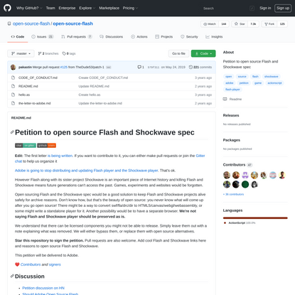 open-source-flash/open-source-flash: Petition to open source Flash and Shockwave spec