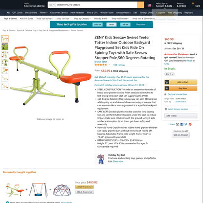 ZENY Kids Seesaw Swivel Teeter Totter Indoor Outdoor Backyard Playground Set Kids Ride On Spining Toys with Safe Seesaw Stop...