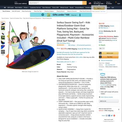 Sorbus Saucer Swing Surf – Kids Indoor/Outdoor Giant Oval Platform Swing Mat – Great for Tree, Swing Set, Backyard, Playgrou...