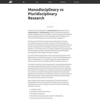 Monodisciplinary vs Pluridisciplinary Research - ILTER