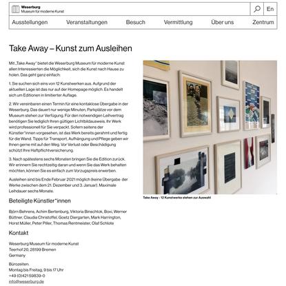 Weserburg » Take Away – Kunst zum Ausleihen
