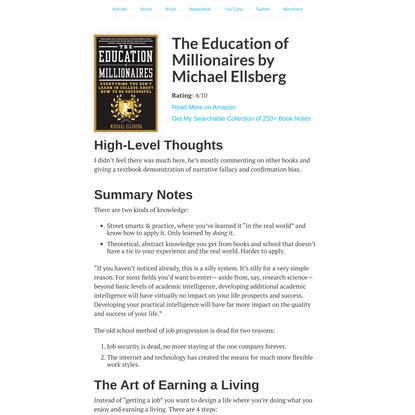 The Education of Millionaires by Michael Ellsberg: Summary & Notes - Nat Eliason
