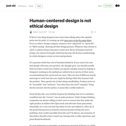 Human-centered design is not ethical design