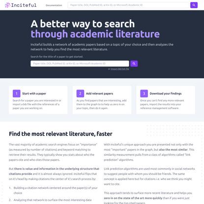 Using Citations to Explore Academic Literature | Inciteful