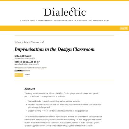 Improvisation in the Design Classroom