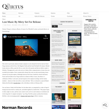 The Quietus   News   Lost Music By Mirry Set For Release