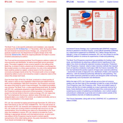 IFS, Ltd. - Investment Futures Strategy, Ltd.