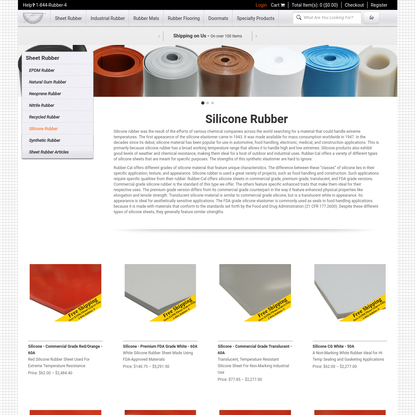 Silicone Rubber | Rubber-Cal Sheet Rubber Rolls