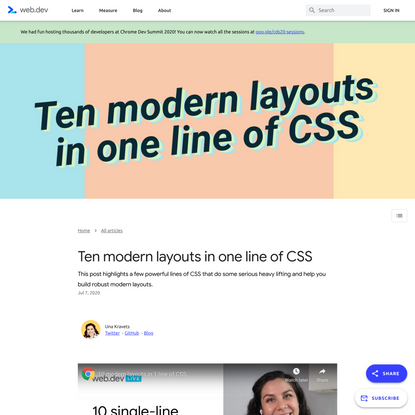 Ten modern layouts in one line of CSS