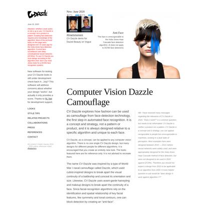 CV Dazzle: Computer Vision Dazzle Camouflage