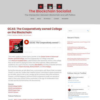 GCAS: The Cooperatively owned College on the Blockchain