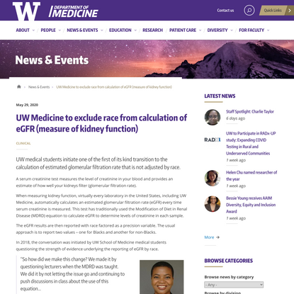 UW Medicine to exclude race from calculation of eGFR (measure of kidney function) | Department of Medicine | University of W...