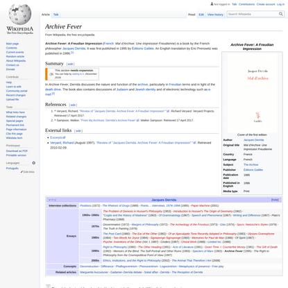Archive Fever - Wikipedia