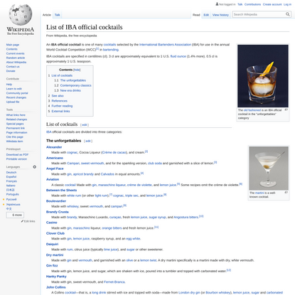 List of IBA official cocktails - Wikipedia