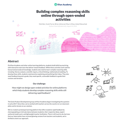 Building complex reasoning skills online through open-ended activities