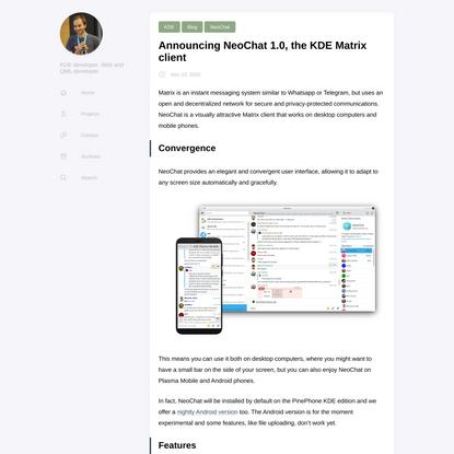 Announcing NeoChat 1.0, the KDE Matrix client