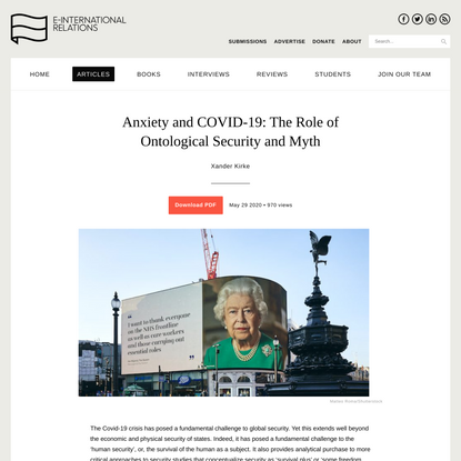 Anxiety and COVID-19: The Role of Ontological Security and Myth