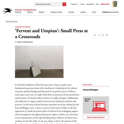 'Fervent and Utopian': Small Press at a… | Poetry Foundation