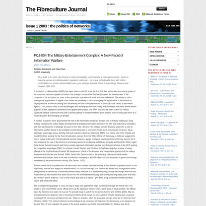 FCJ-004 The Military-Entertainment Complex: A New Facet of Information Warfare   The Fibreculture Journal : 01