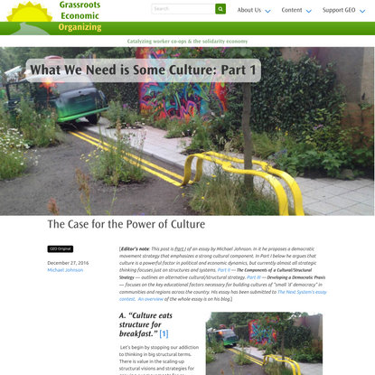 What We Need is Some Culture: Part 1 | Grassroots Economic Organizing