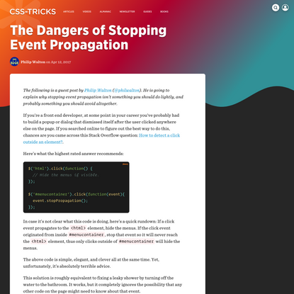 The Dangers of Stopping Event Propagation   CSS-Tricks