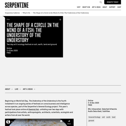 The Shape of a Circle in the Mind of a Fish: The Understory of the Understory - Serpentine Galleries