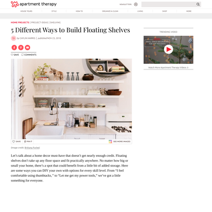 5 Different Ways to Build Floating Shelves