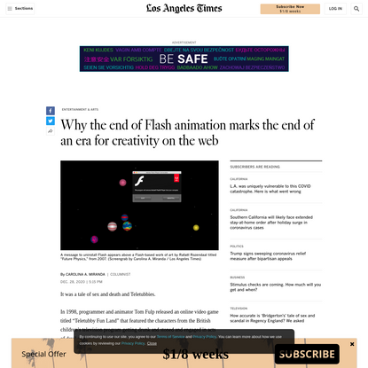Why the end of Flash animation marks the end of an era for creativity on the web