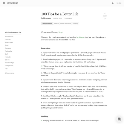 100 Tips for a Better Life - LessWrong