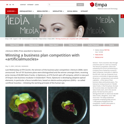 """Empa - 604 - Communication - Winning a business plan competition with """"artificial muscles"""""""