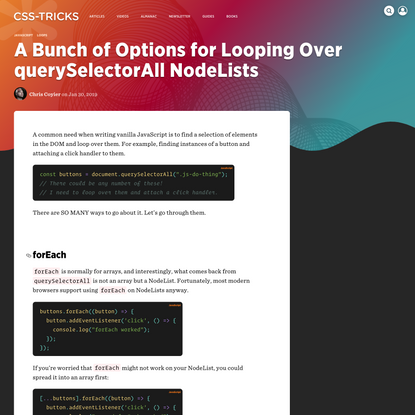 A Bunch of Options for Looping Over querySelectorAll NodeLists   CSS-Tricks