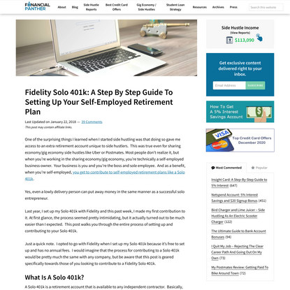 Fidelity Solo 401k: A Step By Step Guide To Setting Up Your Self-Employed Retirement Plan - Financial Panther