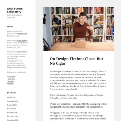 On Design Fiction: Close, But No Cigar - Near Future Laboratory