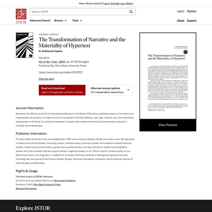 The Transformation of Narrative and the Materiality of Hypertext on JSTOR