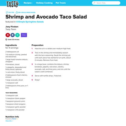 Shrimp and Avocado Taco Salad Recipe by Tasty