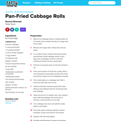 Pan-Fried Cabbage Rolls Recipe by Tasty