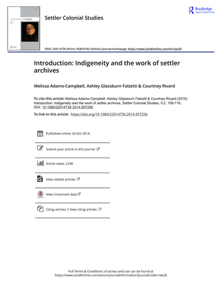 Indigeneity and the work of settler archives by Melissa Adams-Campbell, Ashley Glassburn Falzetti & Courtney Rivard,